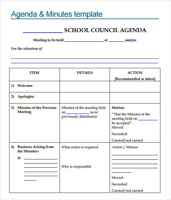 School Agenda Template PDF  Meeting Agenda Template Doc