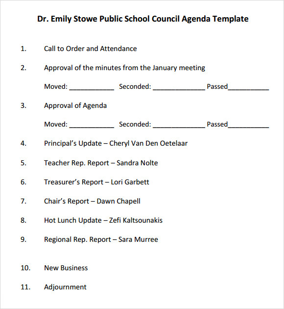 Sample School Agenda. School Improvement Informal Team Meeting