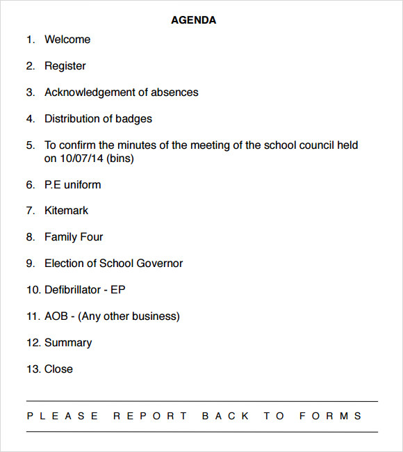 Sample School Agenda 8 Documents in PDF Word – Example of Meeting Agenda