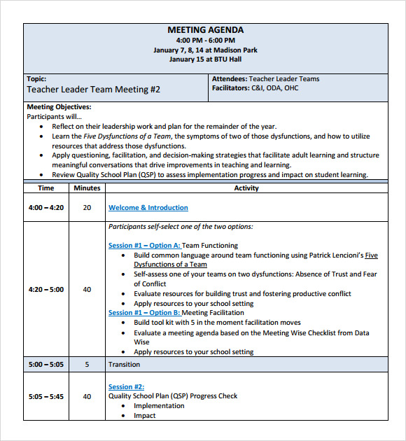 Sample School Agenda 8 Documents in PDF Word – Samples of Agendas for Meetings