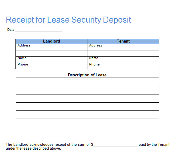 Rent Receipt Template Excel