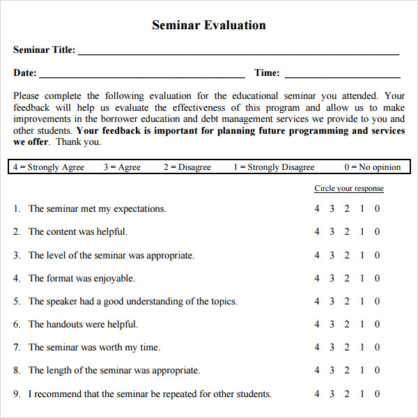 Workshop Evaluation Form 10 Free Download In PDF – Seminar Evaluation Form
