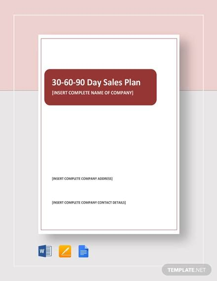 simple 30 60 90 day sales plan
