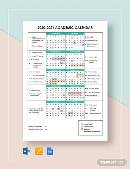 simple academic calendar template