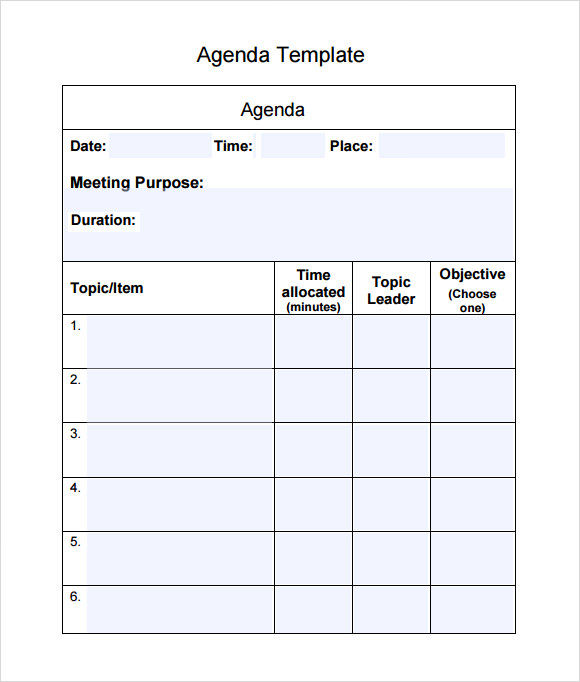 Sample Agenda 6 Documents in Word PDF – Sample Agenda Format