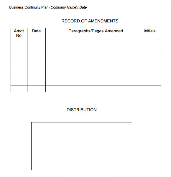 12 Sample Business Continuity Plan Templates Sample