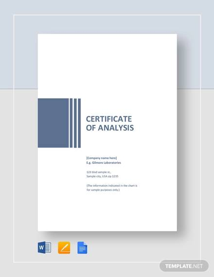 free 11  sample certificate of analysis templates in