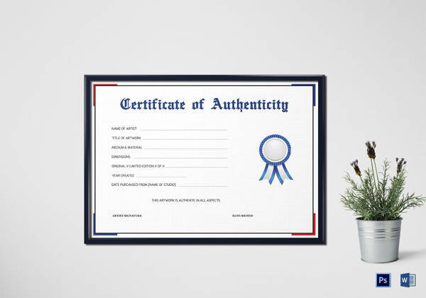simple certificate of authenticity template in word