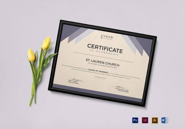 simple church membership certificate