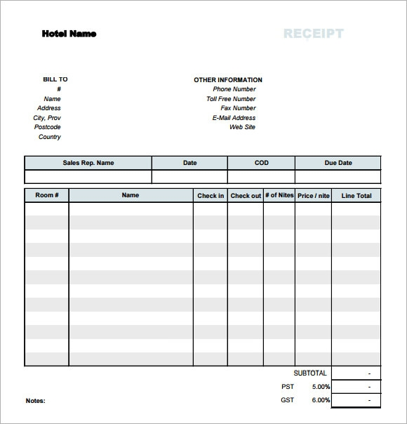 simple hotel receipt template free