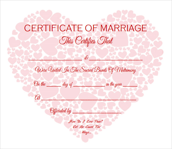 Sample Marriage Certificate Template   Documents In Pdf Word