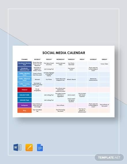 simple social media calendar template