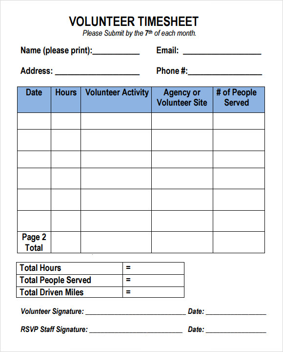 Sample Volunteer Timesheet   Example Format