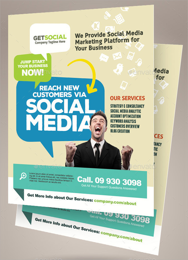 social media marketing flyer template - Marketing Brochure Template