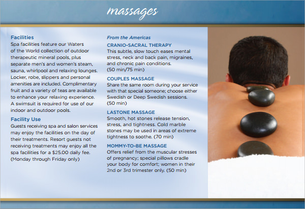 spa brochure template free download