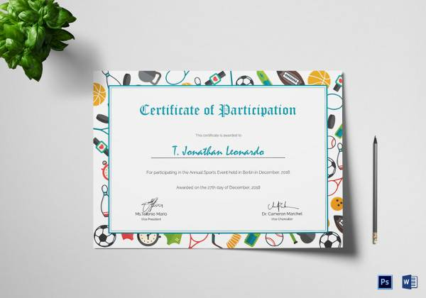 19  sample participation certificates