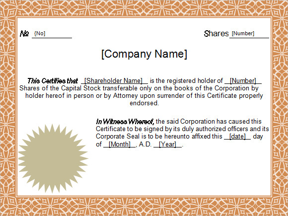 Stock Certificate Template 4 Free Download for PDF Word – Certificate Format in Word