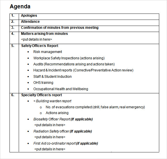 Sample Student Agenda – 7+ Example, Format