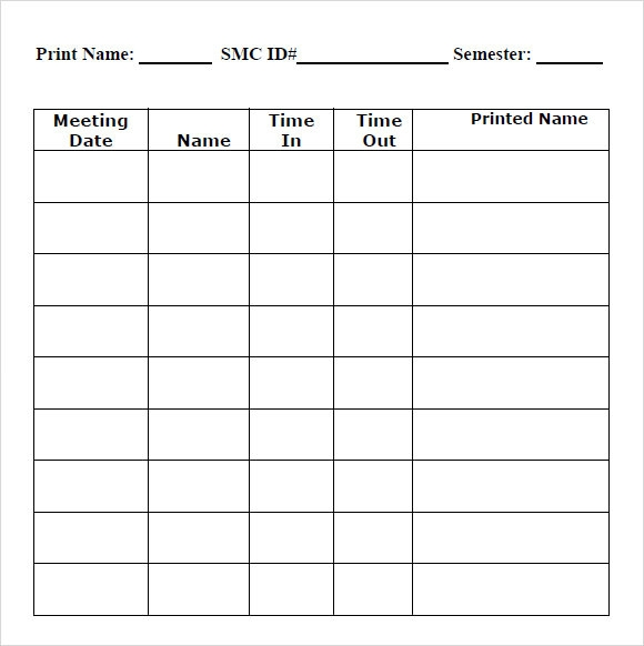 Sample Blank Timesheet 6 Documents in PDF – Sample Blank Timesheet