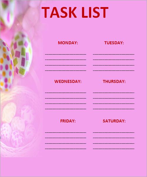 work task list template .