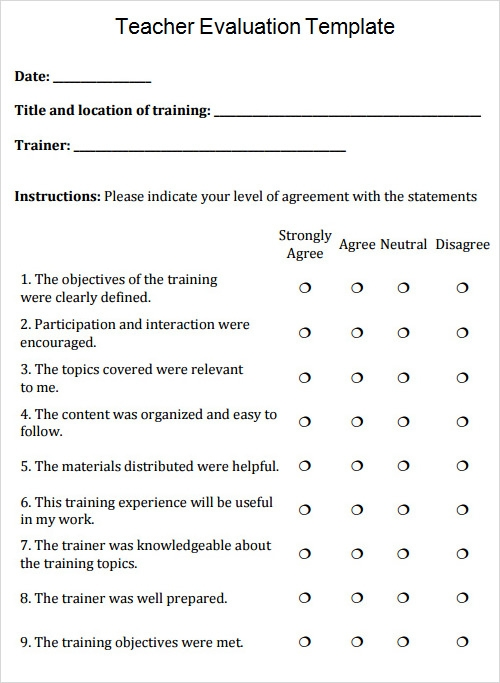 Evaluation Template - Free Download Documents In Pdf