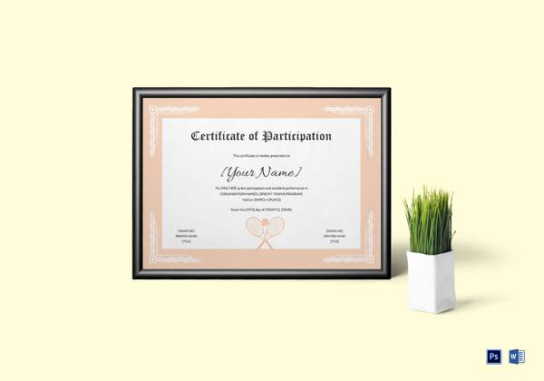 tennis participation certificate template