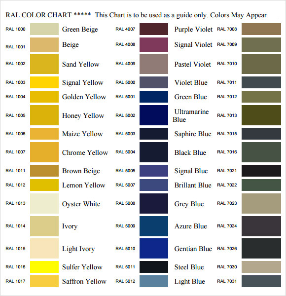 11 Sample General Color Chart Templates Sample Templates