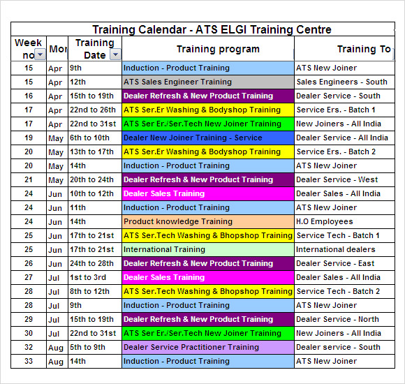 Training Calendar Template 11 Free Download For Pdf Word Excel