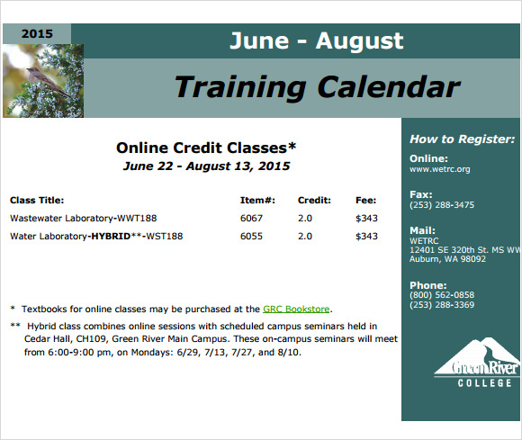 training calendar template – Training Calendar Template