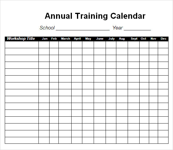 Training Calendar Template 11 Free Download for PDF Word Excel – Training Calendar Template