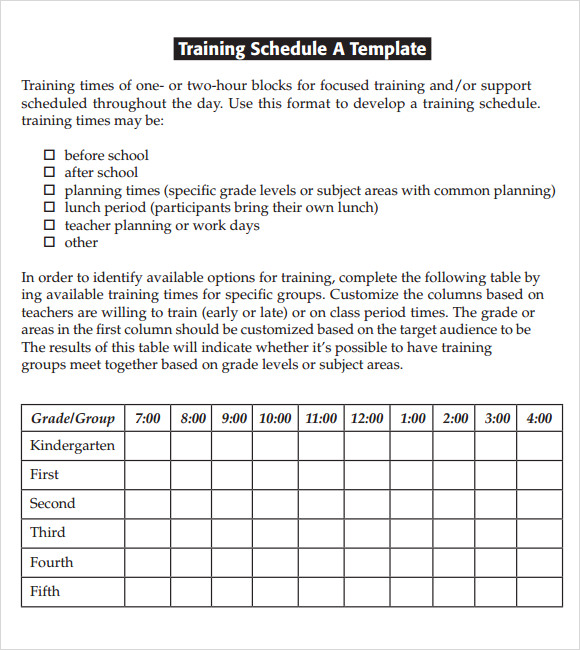 Sample training schedule template saigontimesfo
