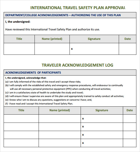 travel safety plan template