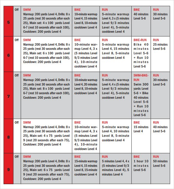 training calendar template 11 free download for pdf With triathlon training calendar template