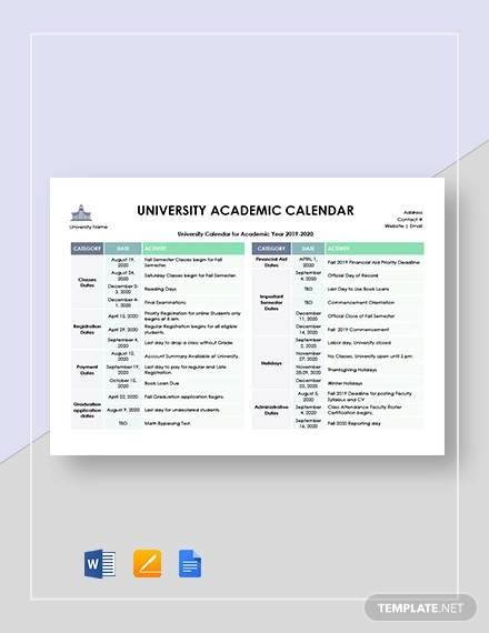 university academic calendar template1