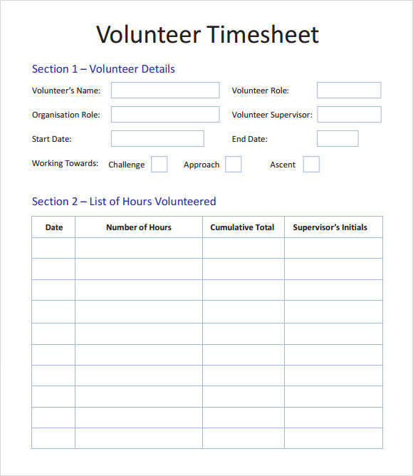 Sample Volunteer Timesheet – 9+ Example, Format