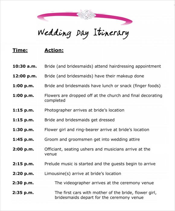 free wedding itinerary template wedding itinerary template