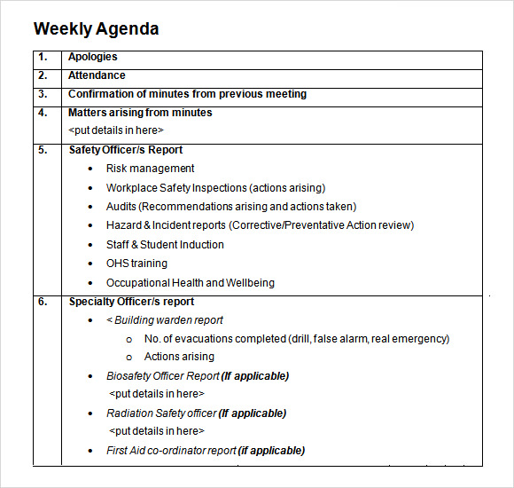 Weekly agenda template 9 free download for pdf word for Monthly meeting schedule template