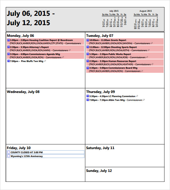 Weekly Agenda Sample   Documents Pdf Word