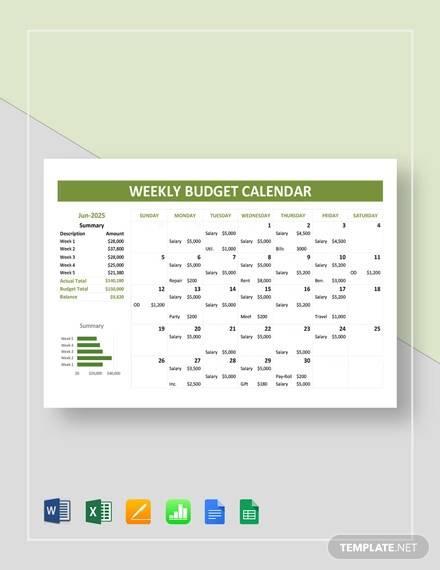 weekly budget calendar template