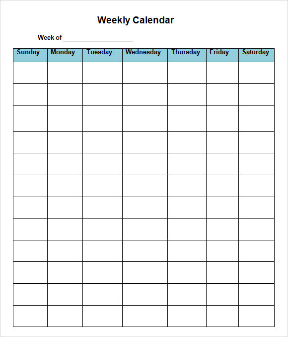 Sample Weekly Calendar   Documents In Word Excel Pdf