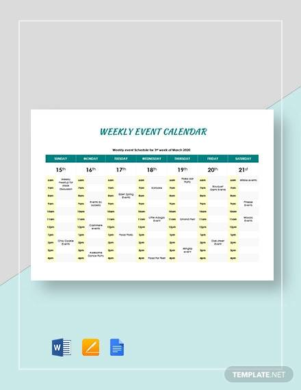 weekly event calendar template1