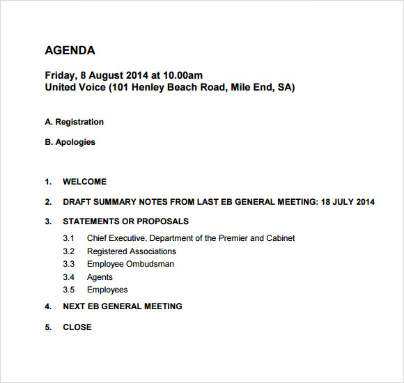 weekly general meeting agenda temlplate