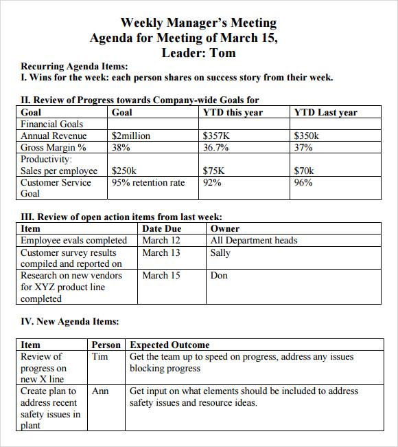 Weekly Agenda Sample 9 Documents PDF Word – Weekly Meeting Agenda Template