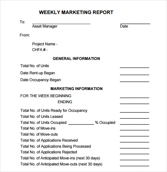 Weekly Report Template Weekly Marketing Report Template Sample