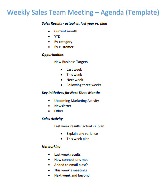 Weekly agenda template 6 free download for pdf word for Weekly meeting minutes template