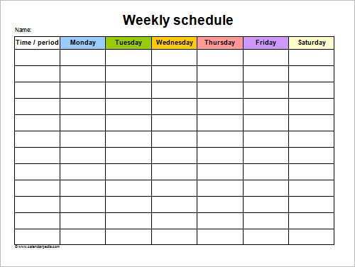 Sample Schedule   Documents In Word Excel