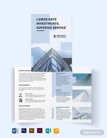wholesales real estate investment bi fold brochure template