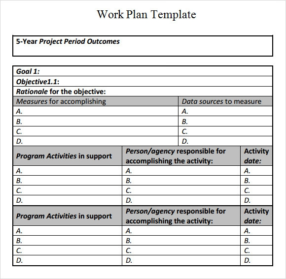 Project Work Plan Template  Ex