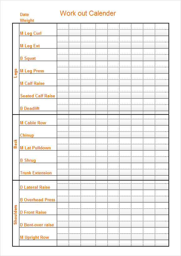 Sample Workout Calendar Sample Workout Log Template  Download In