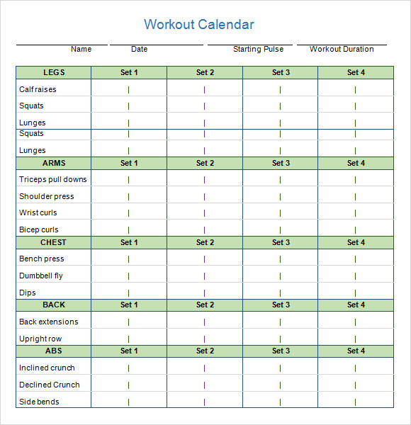 workout calendar template word